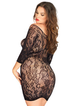 Leg Avenue Female Long Sleeved Floral Lace Mini Dress With Lace Up Net Detail 86546Q