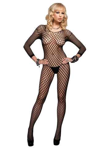 Leg Avenue Female Lycra Ringo Hole Long Slvs Bodystocking 8748