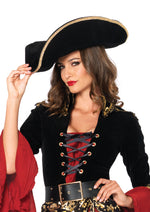 Leg Avenue Female Mens Pirate Hat W/ Gold Trim 2078