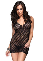 Leg Avenue Female Mini Dress W/Lace Up Front & G-String 8316