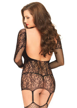 Leg Avenue Female Net And Lace Long Sleeved Backless Garter Dress 81531