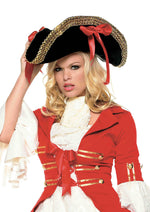 Leg Avenue Female Pirate Hat With Thick Gold Trim And Side Ribbons Topped 2099