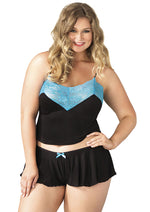 Leg Avenue Female Plus Size 2PC.Brushed Jersey And Lace Cami And Boyshorts E SE8873X