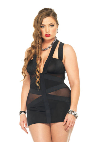 Leg Avenue Female Plus Size Spandex Strappy Elastic Band Dress W/Mesh Panel 86541Q