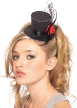 Leg Avenue Female Rose Clip-On Petite Glitter Top Hat With Polka Dot Mesh And Feather A1069
