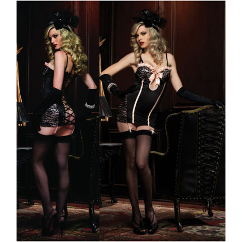 Leg Avenue Female Ruffle Trimmed Underwire Garter Dress W/Lace Up Corset Back 86346