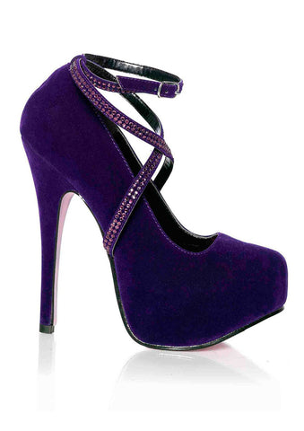 Leg Avenue Female Sasha In Velvet Pump W/Rhinestone Wrap Strap 2 In Covered Platform 5064