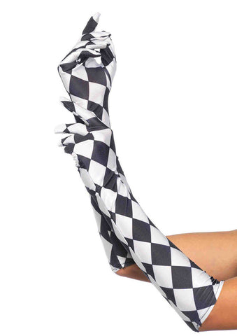 Leg Avenue Female Satin Harlequin Elbow Length Gloves 3748