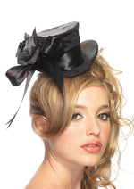 Leg Avenue Female Satin Top Hat With Flower And Bow Accent 2135