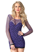 Leg Avenue Female Seamless Leopard Mini Dress With Diamond Net Bodice And Sleeves 86583