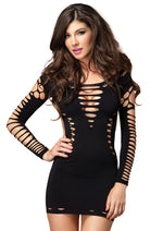 Leg Avenue Female Seamless Shredded Mini Dress With Cut Out Side Detail 87039