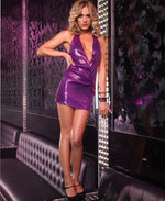 Leg Avenue Female Sequin Halter Mini Dress With Built In Bodice Lining 28082