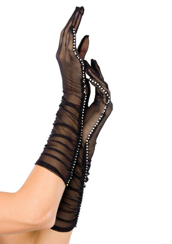 Leg Avenue Female Sheer Mesh Ruched Elbow Length Gloves W/ Rhine Stone Trim G1800