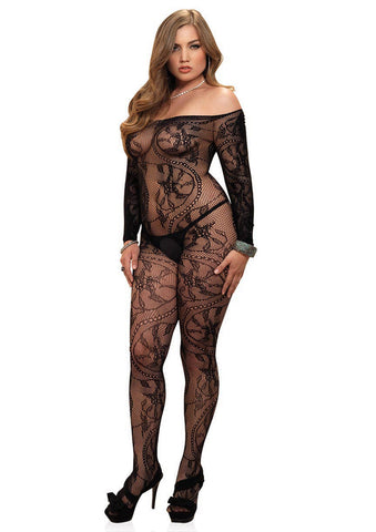 Leg Avenue Female Spiral Lace Off The Shoulder Long Sleeved Bodystocking 89106Q