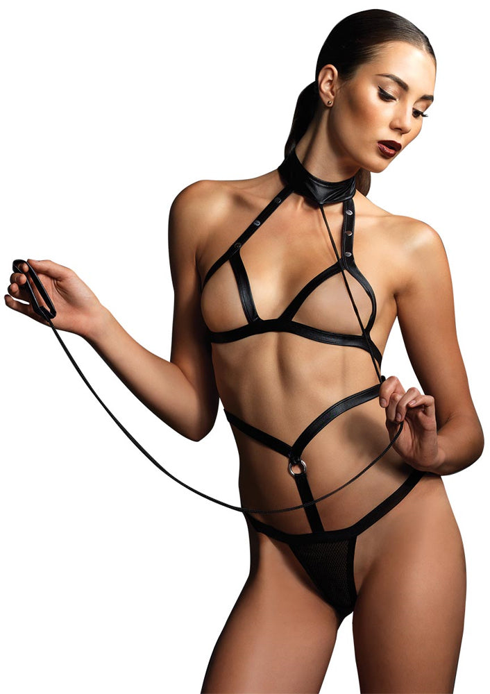 Leg Avenue Female Strap Bondage Teddy W/G-String And Attached Leash Wrist Strap KI4005
