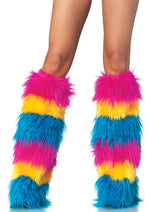 Leg Avenue Female Striped Neon Furry Leg Warmers A2003