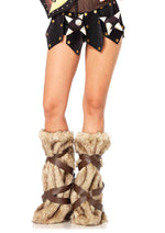 Leg Avenue Female Warrior Fur Leg Warmers With Faux Leather Wrap Detail 2699