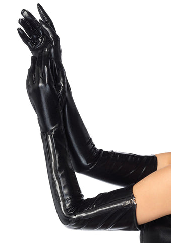 Leg Avenue Female Wet Look Opera Length Zipper Gloves 2667
