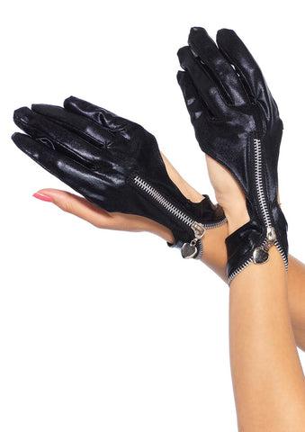 Leg Avenue Female Wet Look Zipper Cut Out Motorcycle Gloves With Heart Pull 3738