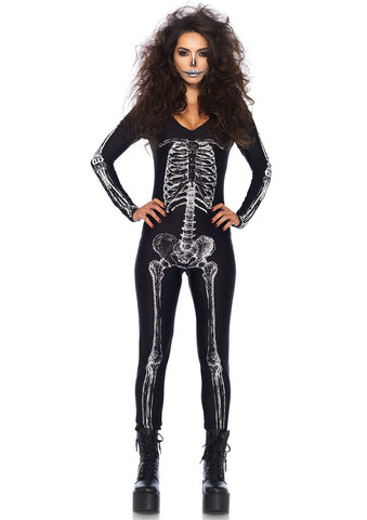 Leg Avenue Female X-Ray Skeleton Catsuit With Zipper Back Costume 85602