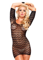 Leg Avenue Female Zig Zag Crotchet Net Cut Out Back Mini Dress With 3/4 Sleeve. 86573