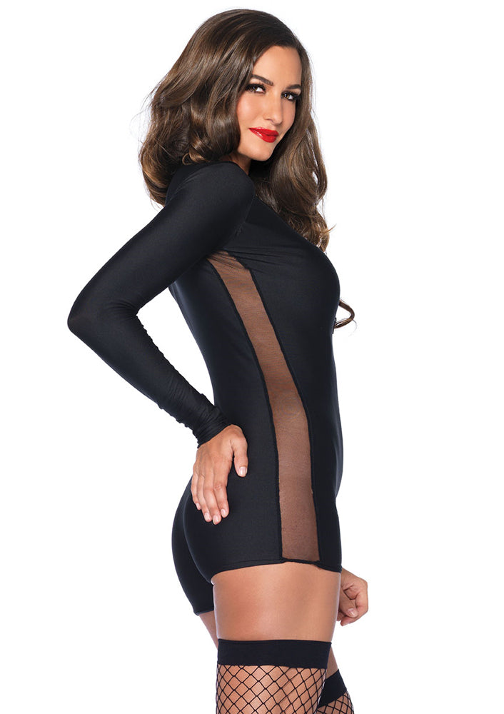 0edc05a571c Leg Avenue Female Zipper Front Romper With Sleeve And Side Sheer Panel 85344