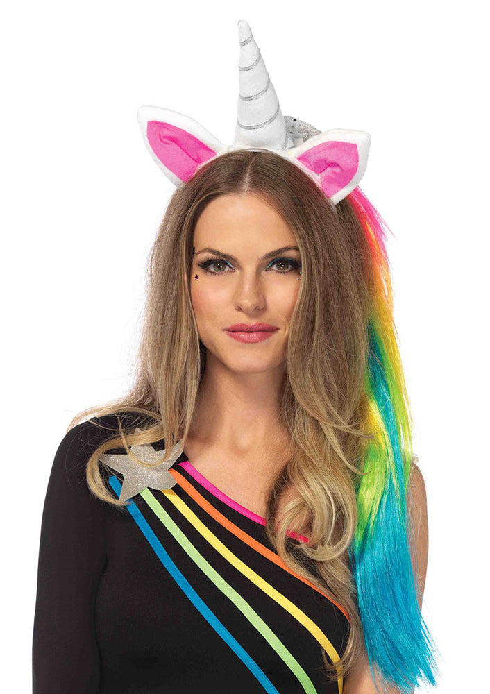 Leg Avenue Magical Unicorn Headband With Rainbow Wig Mane A2781