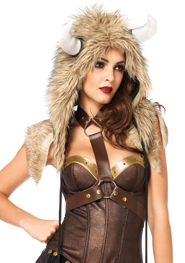 Leg Avenue Male Viking Furry Hood With Flail Ties 2698