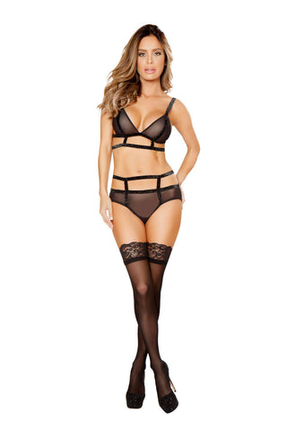 2Pc Sheer Top And Bottom With Shiny Elastic Straps  - Fashion