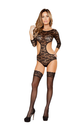 1Pc Laced Teddy With Cutout Bottom And Adjustable Garters  - Fashion