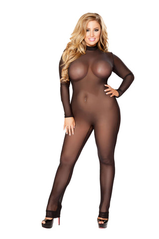 Plus Size Sheer Bodysuit  - Fashion