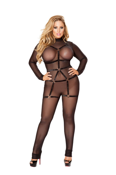 Plus Size 1Pc Cage Romper Straps With Rings  - Fashion