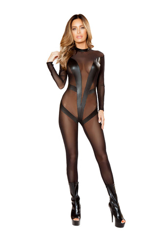 1Pc Sheer Catsuit With V-Detail  - Fashion