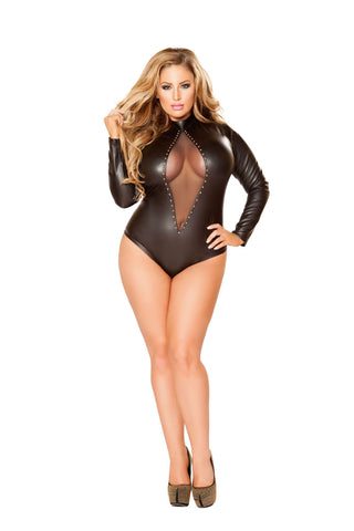 Plus Size 1Pc Romper With Studs & Zipper Detail - Fashion