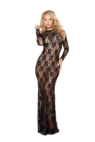 1Pc Lace Dress With Open Back And Hook Closure - Fashion