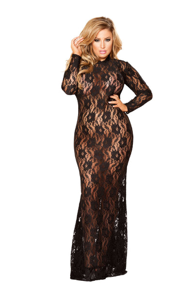 Plus Size 1Pc Lace Dress With Open Back And Hook Closure - Fashion