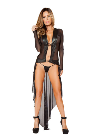 2Pc Sheer Robe With Hooks & Gstring  - Fashion