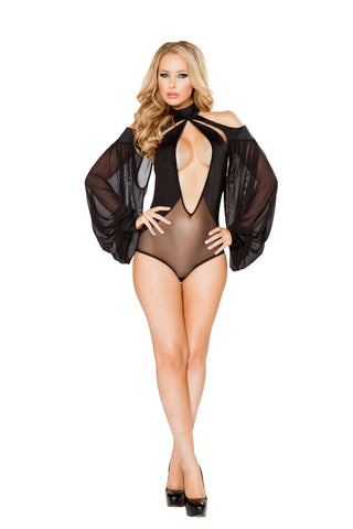 1Pc Cutout Romper With Draped Sheer Sleeves  - Fashion