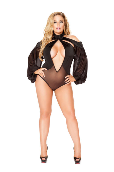 Plus Size 1Pc Cutout Romper With Draped Sheer Sleeves  - Fashion
