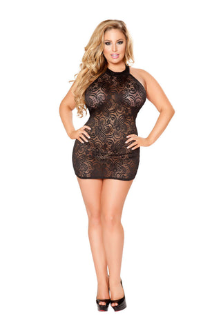Plus Size 1Pc Mini Dress With Open Back - Fashion