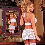 Magic Silk Female Plus Size Angelic Lace Halter Skirt & G-String B808
