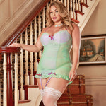 Magic Silk Female Plus Size Wild Orchid Bustier Chemise& G-String B974