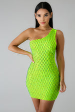 Neon Rhinestone Girl Dress NEON GREEN