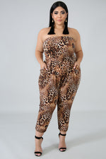Plus Size Chasing You Around Jumpsuit LEOPARD