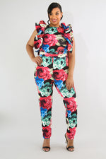 Plus Size Rainbow Flowers Jumpsuit MULTI PRINT