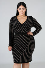 Plus Size Rhinestone Dazzle Stripe Dress BLACK