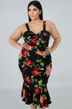 Plus Size Rosas Flare Dress BLACK