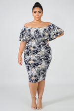 Plus Size Ruffle Textured Body-Con Dress MULTI PRINT