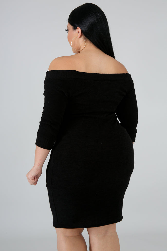 Plus Size Sensual Knit Body-Con Dress BLACK