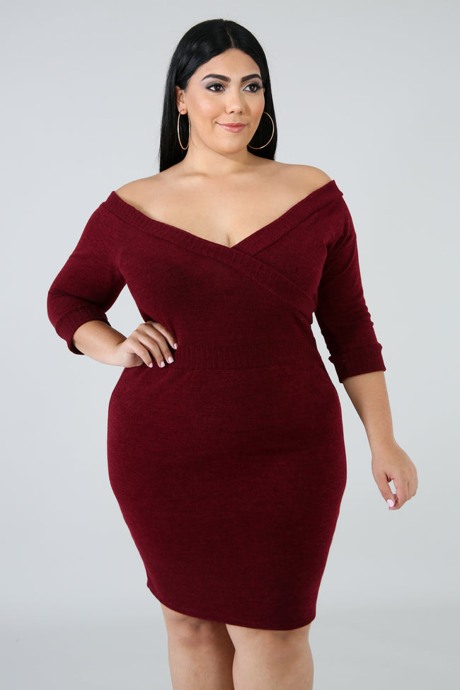 Plus Size Sensual Knit Body-Con Dress BURGUNDY